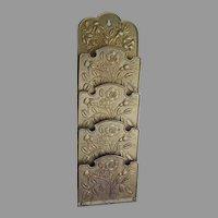 Antique Brass Floral Letter Holder, Wall Mount Memo Holder