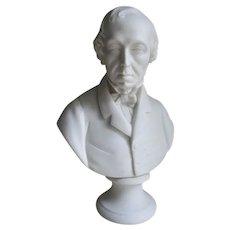 Antique Parian Porcelain Bust of William Wordsworth, English Poet