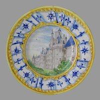 Antique French Majolica, Faience Château Chambord Castle Castle Plate
