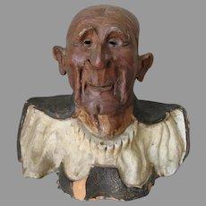 Antique Asian Bust Sculpture of a Gentleman Scholar, Hand Made Pottery