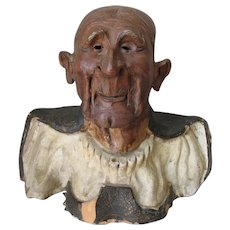 Antique Asian Bust Sculpture of a Gentleman Scholar, Hand Made Pottery