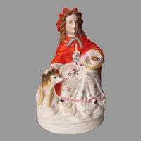 Antique c1880s Parian Porcelain Figurine of Little Red Riding Hood
