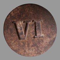 Antique Roman Numeral VI  Architectural Building Marker
