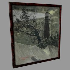 Original Illustration of a Lighthouse, Signed Townsend