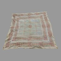 Lovely Antique Silk Crepe Embroidered Tablecloth, Piano Shawl