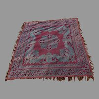 Antique c1880s Tapestry Tablecloth, French Fleur de Lis, Piano Scarf