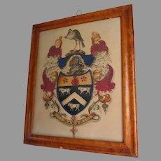 Antique c1830s English Heraldry Watercolor, Gouache, Family Crest