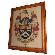 Antique c1830s English Heraldry Watercolor, Gouache, Family Crest