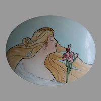 Antique Art Nouveau Hand Painted Porcelain Plaque