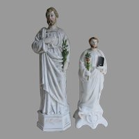 Pair Antique Old Paris Porcelain & Staffordshire Saints Figurines, Santos