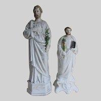 Pair Antique Old Paris Porcelain & Staffordshire Saints Figurines, Santos