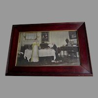 Antique Print of Father Daughter, Dining Room, Hand Colored