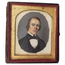 Fine Antique c1850s Miniature Painting of a Gentleman