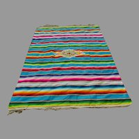 Fine Old Circa 1920s Mexican Saltillo, Serape Blanket, Tablecloth , Hand Woven Wool