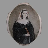 Antique Circa 1844 Miniature Painting, Lady with Fan, Signed