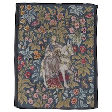 Fine Antique French Petit Point, Needlepoint Tapestry, Lady on Horse