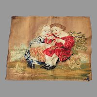 Antique Circa 1870s Wool Tapestry of Children, Wool Needlepoint
