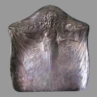 Antique Art Nouveau Tufts, Silverplate Crumb Tray, Lady in Gown