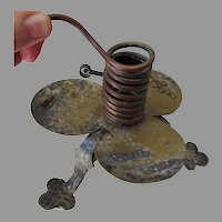 Antique Aesthetic Movement Mixed Metal Candlestick with Mouse