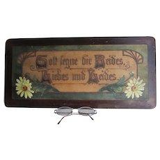 Antique German Folk Art Plaque with Wedding, Bride Motto