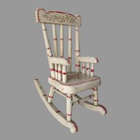 Antique Folk Art Doll, Miniature Rocking Chair in Original Paint