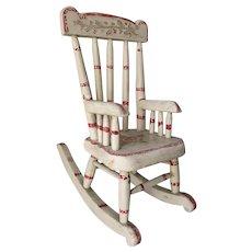 Antique Folk Art Doll, Miniature Rocking Chair in Original Paint