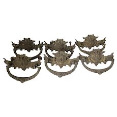 6 Antique Gargoyle, Lion, Victorian Gothic Handles, Drawer Pulls