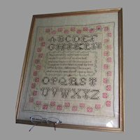 Antique 19th Century Primitive Folk Art Sampler with Poem