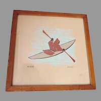 Mid Century Eskimo Inuit Wood Block Print, Signed Mika, American Indian