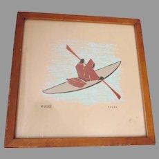 Mid Century Eskimo Inuit Wood Block Print, Signed Mika, American Indian