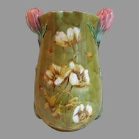 Lovely Antique Art Nouveau Majolica Vase, Poppy Flowers