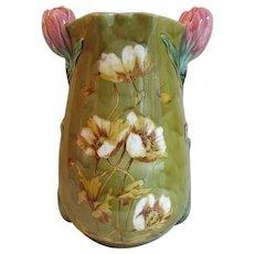 Lovely Antique Art Nouveau Majolica Vase, Poppy Flowers