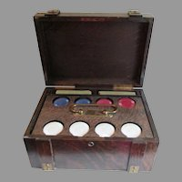 Antique Arts & Crafts Oak Poker Chip Case with Playing Cards