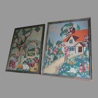 Pair Charming Art Deco Garden Cottage Needlework Tapestry Samplers