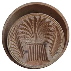 Antique Primitive Butter Press with Wheat Sheaf, Hand Carved