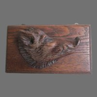 Antique Hand Carved Oak Plaque, Boar Head