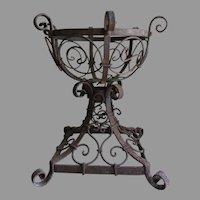 Antique Wrought Iron Oil Lamp Holder, Planter, Garden