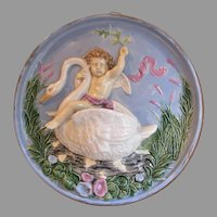 Antique Majolica Charger, Plaque, Cherub Riding a Swan