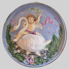 Antique Majolica Charger, Plaque, Cherub Riding a Swan