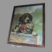 Antique Victorian Chromolithograph Print, Spaniel Dog with Kittens