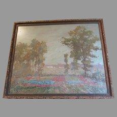 Impressionistic Painting, Cottage Landscape Listed Artist Frederick James Boston