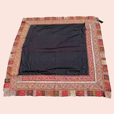 Antique c1840s Signed, Kashmir Paisley Shawl Hand Made & Embroidered