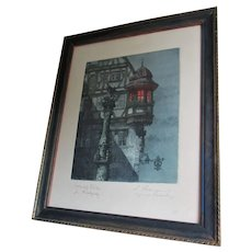 Antique Hand Painted Etching, Engraving, Europe Architecture, St George