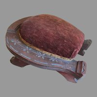 Antique Folk Art, Horse Shoe Footstool, Hand Carved Good Luck