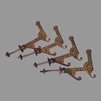 4 Antique c1880s Aesthetic Movement Coat Hooks, Hall Tree Hardware