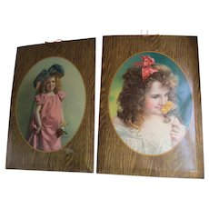 Antique c1904 Tin Lithograph Advertising Signs, Plaques, Little Girls