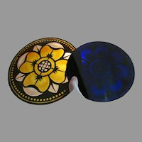 Pretty Antique Stained Glass Roundels, Enamel Glass