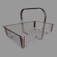 Circa 1929 Wire Ware Garden Basket, Primitive Shopping Tote