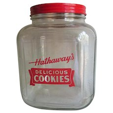 c1920s Art Deco Advertising Store Display Jar, Hathaway Cookies