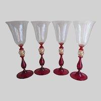 Set of 4 Signed Venetian Glass Wine Flute Water Stemware